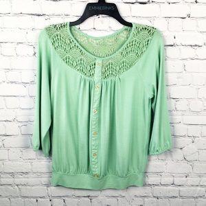 Takara, Seafoam Green Lace Block Top / Blouse